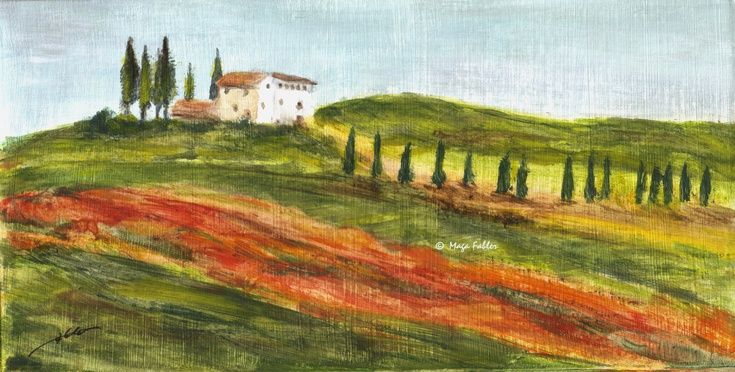 Poppies field in Tuscany (Art d'Eco) by Maga Fabler Original acrylic painting on recycled cardboard