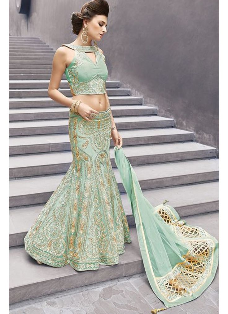 Excellent Mint Embroidered Lehenga Choli