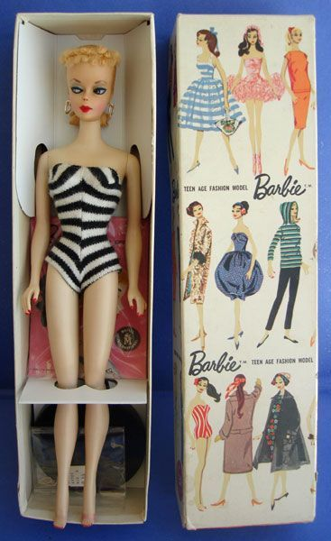 The original 1959 Barbie Doll, Barbara Millicent Roberts, from Eve Out of The Garden : How the German Barbie Lilli became America's Fashion Barbie: