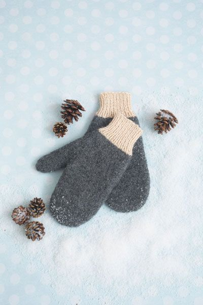 Snow Day Mittens - These warm and cozy mittens are perfect for the ever-elusive snow day. With their simple design and felted finish, the Snow Day Mittens are the only gloves you need. From the February 2015 issue of I Like Knitting.