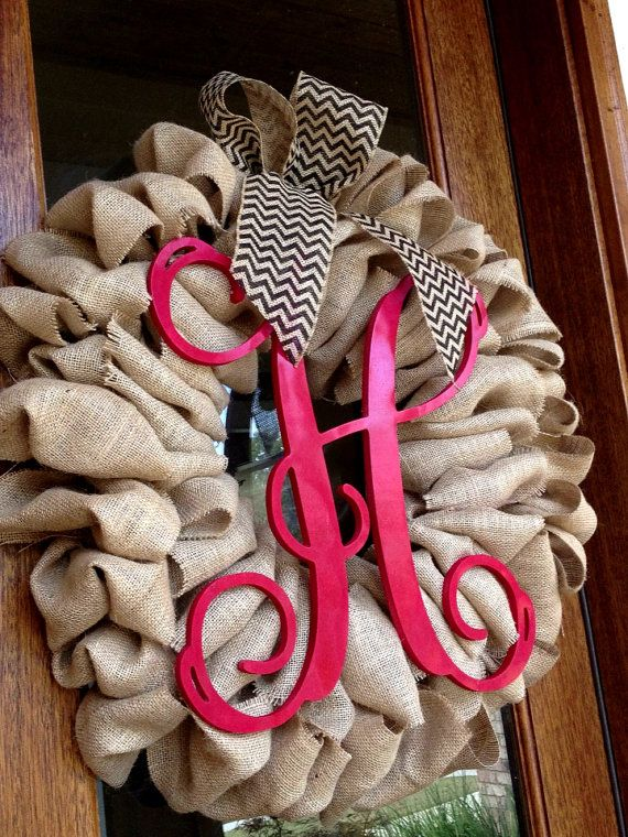 Large Wooden Monogram Burlap Wreath