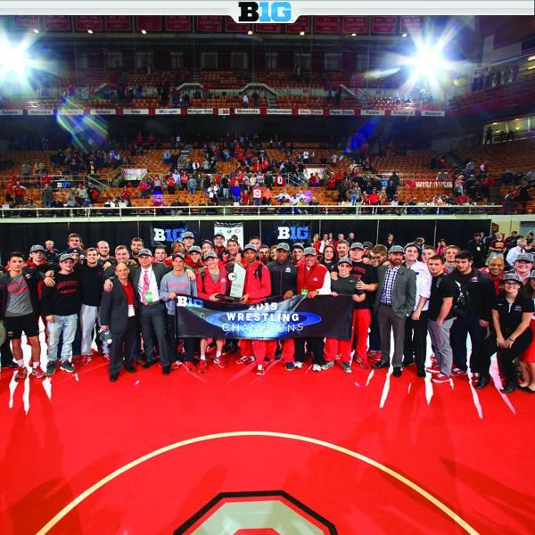 Iowa and Ohio State won the 2015 Big Ten Wrestling Championships title, tying for first place with 120 points. #B1G
