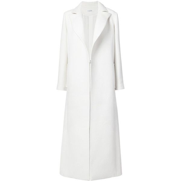 Oscar de la Renta single breasted long coat ($3,390) ❤ liked on Polyvore featuring outerwear, coats, white, oscar de la renta coat, long coat, single-breasted trench coats, longline coat and white coat