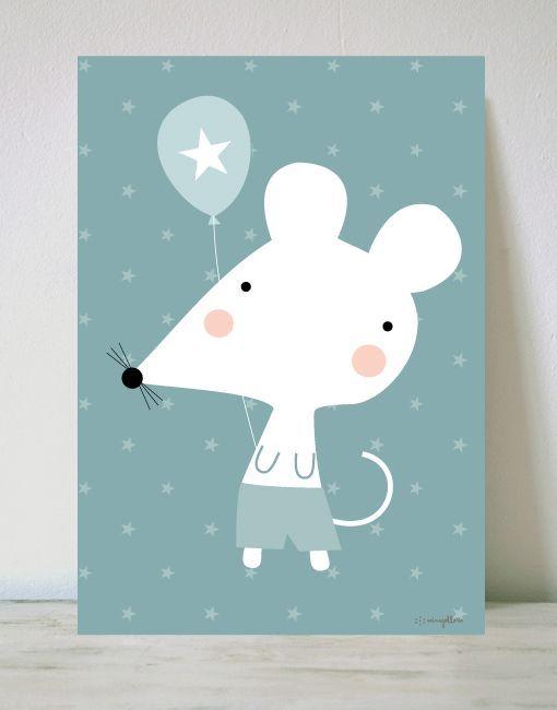 lámina de ratón con globo