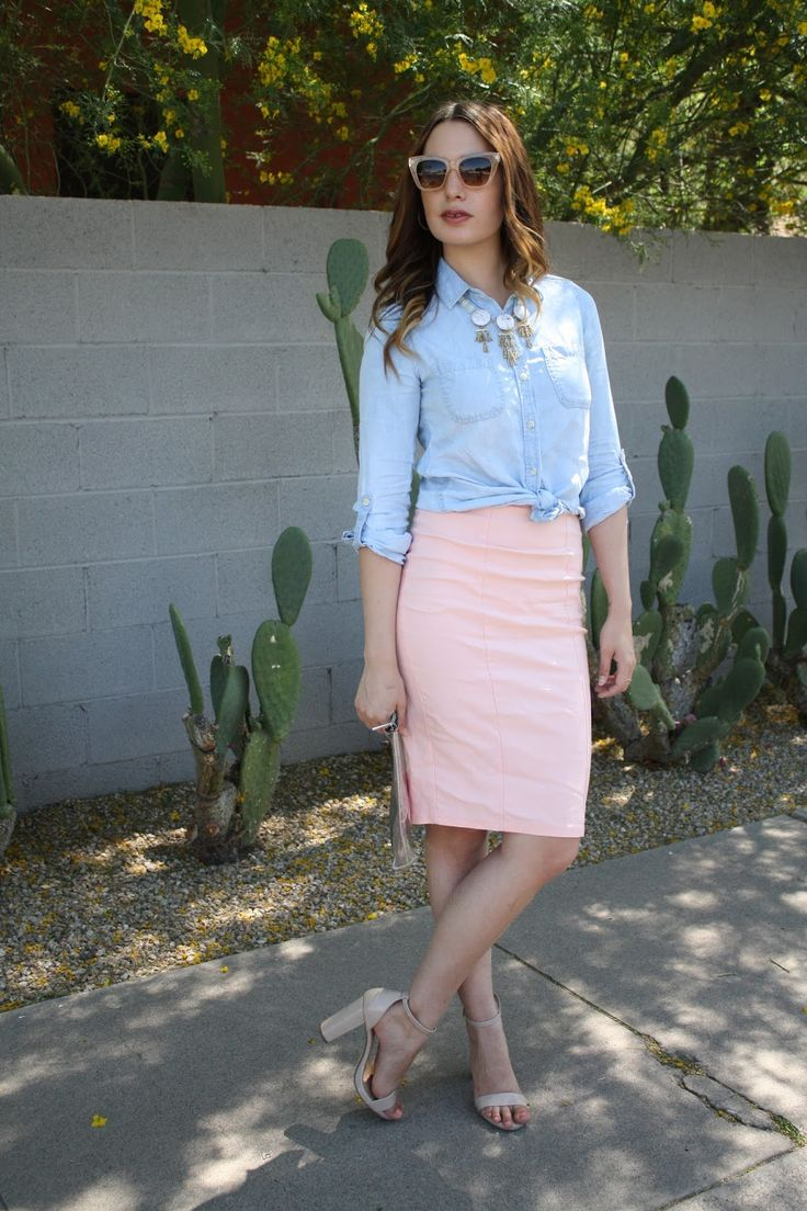 Denim Shirt + Pink Pencil Skirt | Spring Style