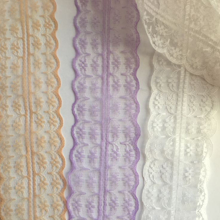 A Lightweight lace. double edges, purple, white and tan. WH211 by TheQuiltedCheese on Etsy