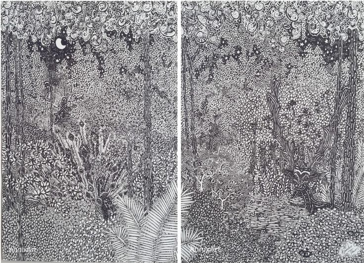 Detailed black and white drawing of a peacock and deer with antlers. Starry night time forest tree illustrations. Art by AnnixArt.