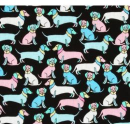 Pastel Dogs Collage on Black Cotton Fabric PO608