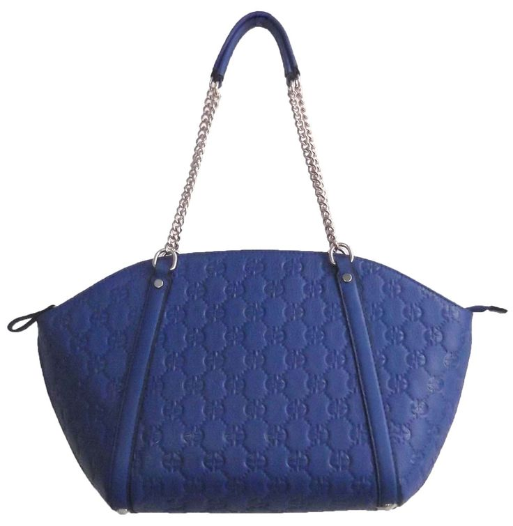 Blue Colour PU Tote Bag with Chain Shoulder Strap