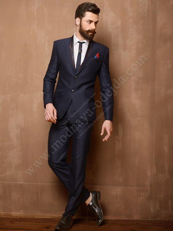 Полуночно-синий мужской костюм-двойка   белая рубашка с галстуком