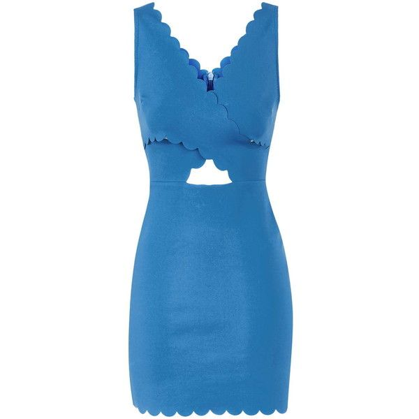 TOPSHOP PETITE Scallop Wrap Bodycon Dress ($68) ❤ liked on Polyvore featuring dresses, blue, petite, petite cocktail dress, wrap cocktail dress, cutout dress, body con dress and blue dress