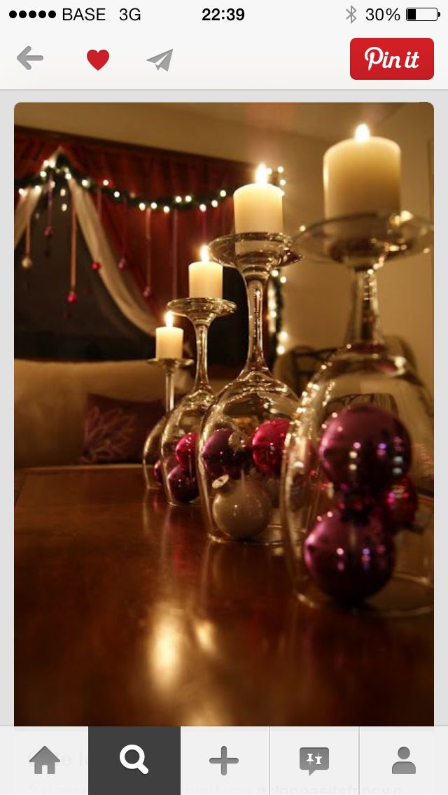 Upside-down wine glasses with Christmas Balls and Candles - Cute Decorative Idea!