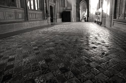 Medieval tiled floor of Winchester Cathedral.