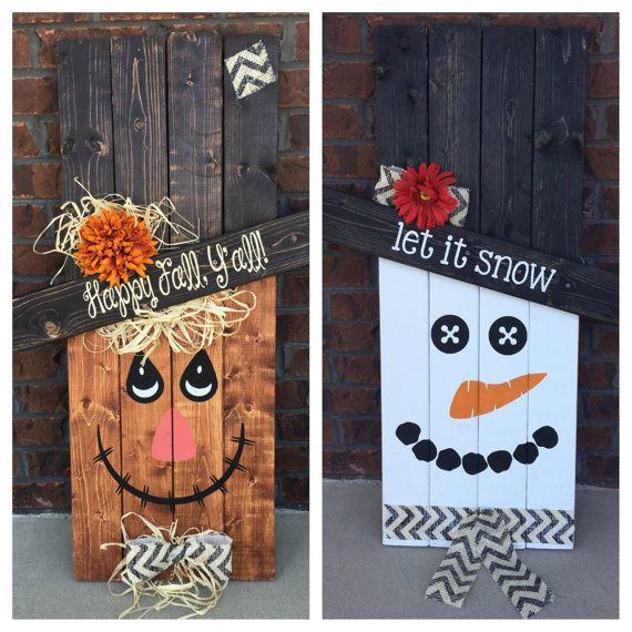 Reversible Scarecrow Snowman, Pallet Sign, Porch Decor, Porch Sign, Seasonal…