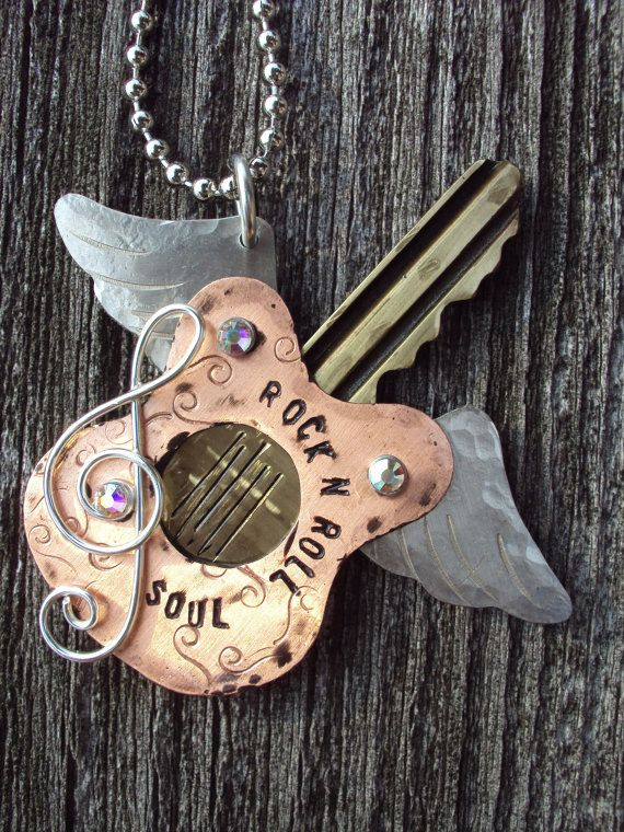Rock n Roll Soul Recycled Key Necklace