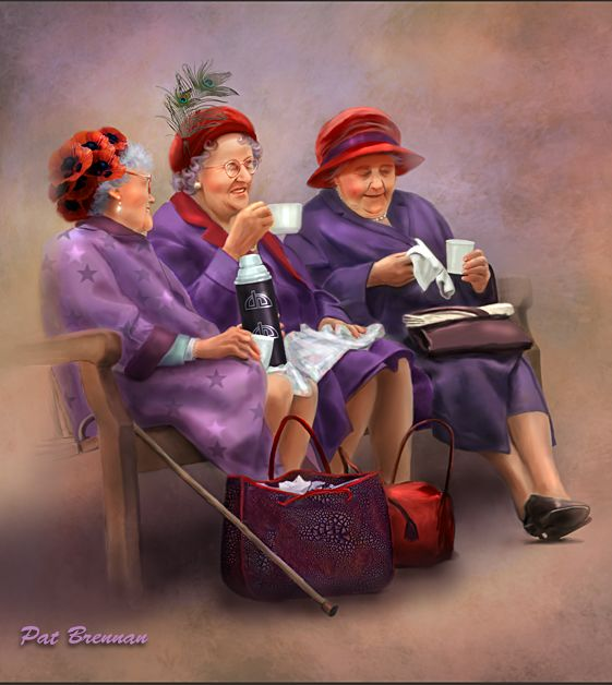 Warning - When I am an old woman, I shall wear purple, With a red hat which doesn't go, and doesn't suit me... art by Pat Brennan