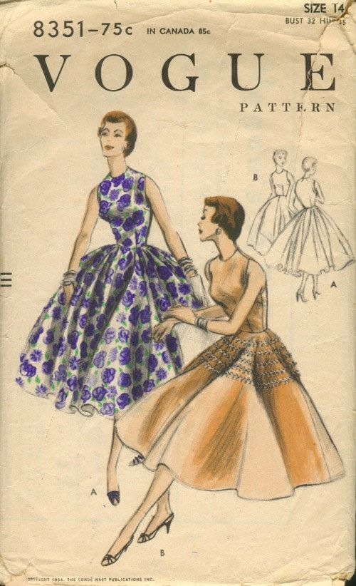 Gorgeous full skirted party dress pattern from Vogue dated 1954 Easy to make! Only 4 pieces! Two skirt variations V1 skirt is two complete circles