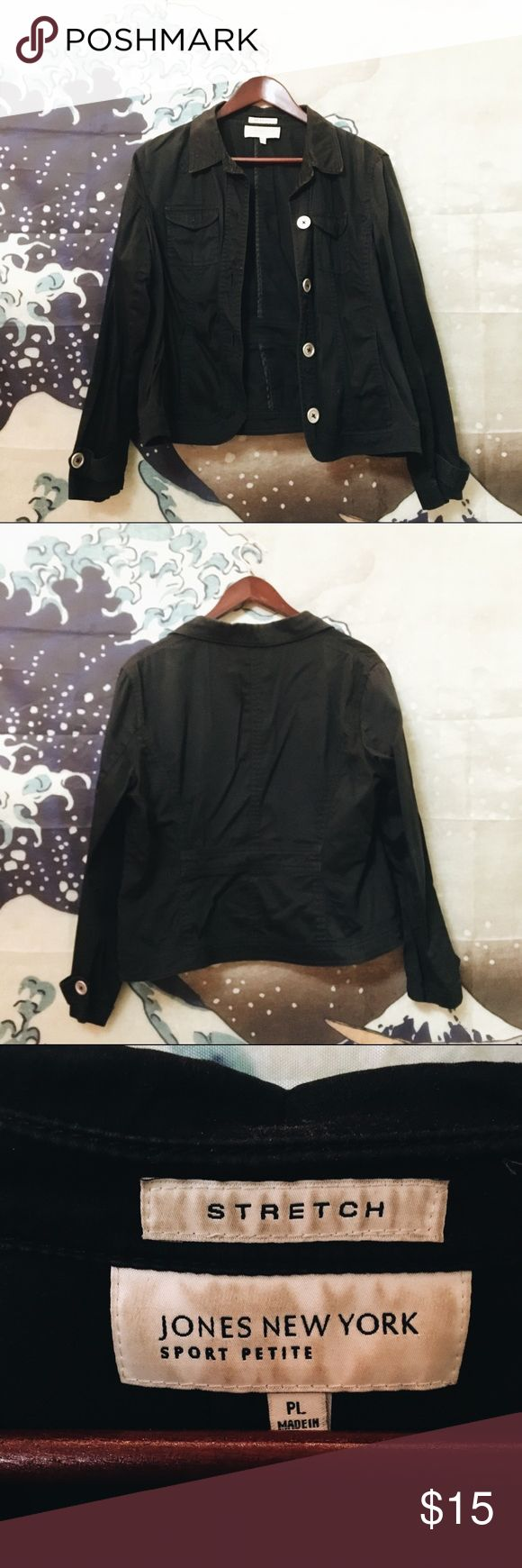 Jones New York thin black jacket Thin black jacket. Cute for the spring and summer! Great to layer with. Women's size petite L. It fits me, who is a standard size M/L. Oversized for a size S  Tag: urban outfitters, UO, forever 21, f21, h&m, gucci, asos, unif, lazy oafs, festival, dad looks, accessories, 90s, vintage, grunge, art hoe, retro, acne, men, women, American apparel, brandy melville, supreme Jones New York Jackets & Coats