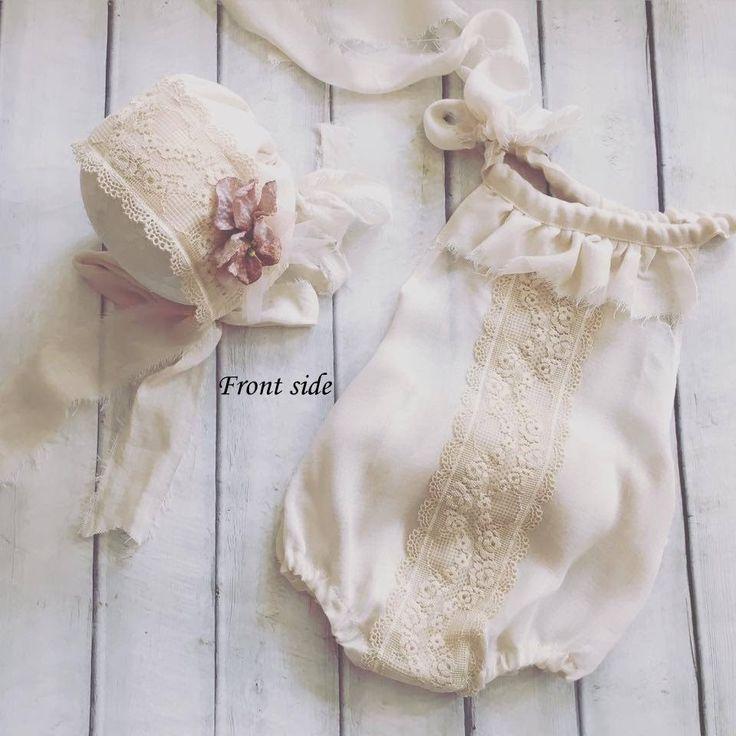 Cod401Newborn Lace Overalls Romper beige by 4LittlePrincessProps