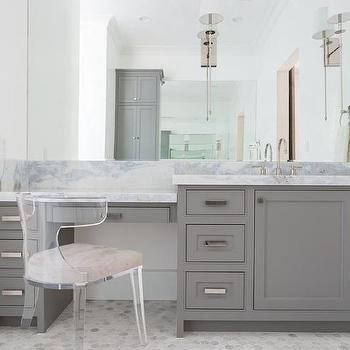 Gray Built In make Up Vanity with Lucite Klismos Chair