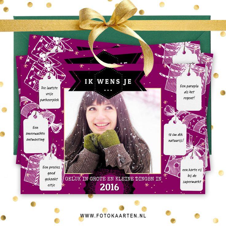 Onze populaire kaartje met wensen hebben we ook met een foto. Je kunt je eigen foto erop zetten, zelf de wensen aanpassen en is paars niet jouw kleur? Dan verander je dat in een handomdraai. Probeer het uit op www.fotokaarten.nl