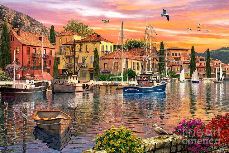 Harbour Sunset Digital Art by Dominic Davison ~ sailboats