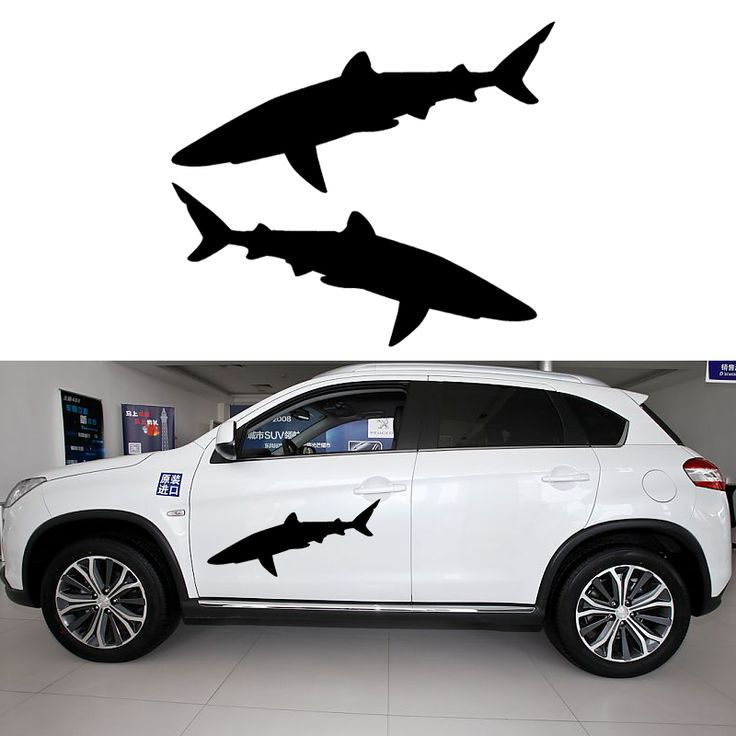 58cm x 26.36cm 2 x Classic Shark (one For Each Side)Car Sticker For Cars Side, Truck Window,Auto Door Kayak Vinyl Decal 8 Colors