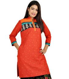 Buy Designer Neck Fancy Orange Print Cotton Kurti 533 kurtas-and-kurti online