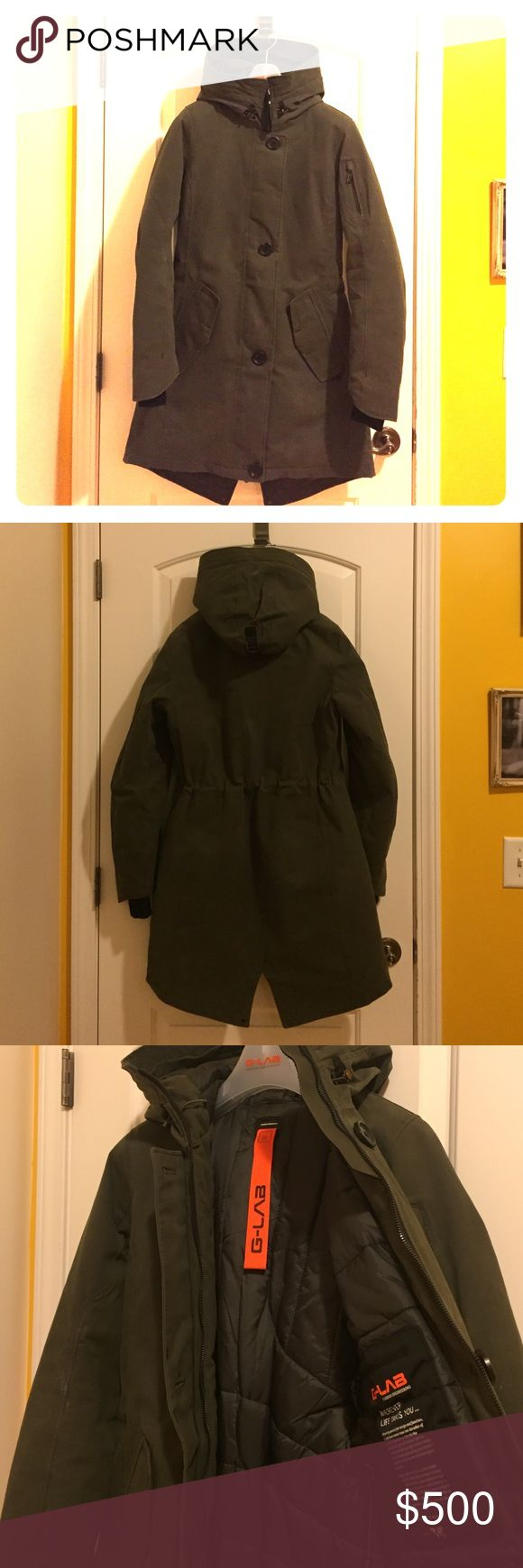 G-lab Montana II - women's down jacket Warm Long down jacket from a expensive German brand. Jacket retails at sale for $1000. Great piece, I just have a lot of jackets and don't need this one. Great matte green color, waterproof, hood with reflective details, waist synch, and bright orange hang tag do you won't loose your jacket on the coat rack at a bar :). Great piece! G-Lab Jackets & Coats Puffers
