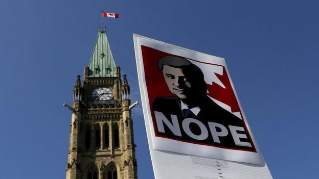 NOPE.  A sign featuring an illustration of Conservative leader, Stephan Harper.