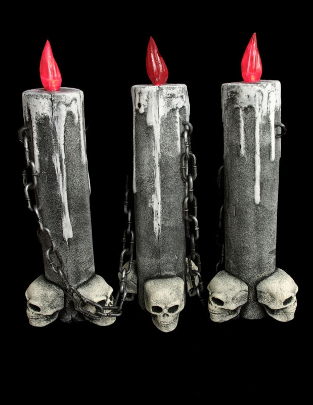 gothic 16 skull 3 candle lamp light wchain sethalloween party