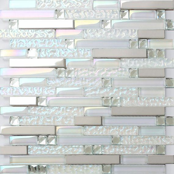 Iridescent White Backsplash Tiles, Silver Stainless Steel Metal Tile, Rhinestone Crystal Mosaic for Kitchen and Bathroom and Accent Wall