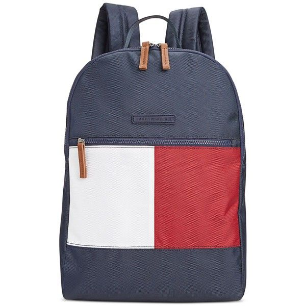 Tommy Hilfiger Colorblock Flag Nylon Backpack ($59) ❤ liked on Polyvore featuring bags, backpacks, accessories, tommy navy, nylon laptop bag, tommy hilfiger backpack, colorblock backpack, nylon bag and padded backpack