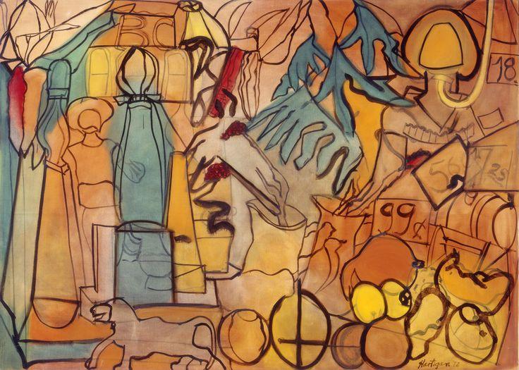 Grace Hartigan | Autumn Shop Window       Dimensions: 79 1/8 x 110 in. (201 x 279.4 cm.)