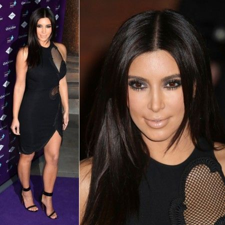 Kim Kardashian mesh black bandage dress Kim Kardashian Attends The 'Quick Trim' Launch In London