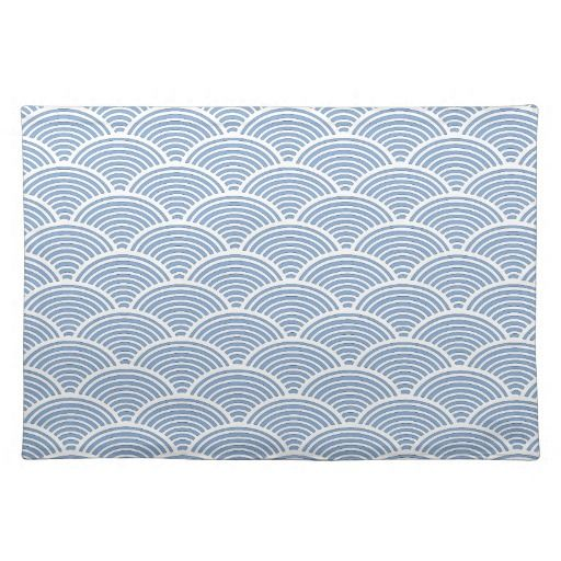 Japanese Wave Pattern in Blue and White Placemat