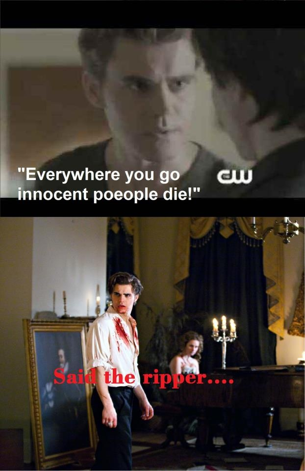 "Yeah, Stefan! Don't be a hypocrite. (Paul Wesley as Stefan and Ian Somerhalder as Damon) - ""The Vampire Diaries"""