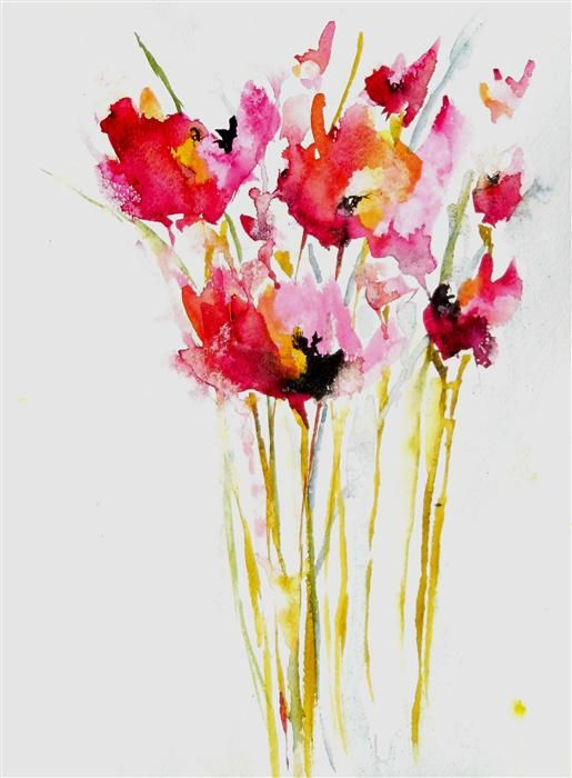 Original art  | Pink Poppies by Karin Johannesson  #watercolor #art #abstract