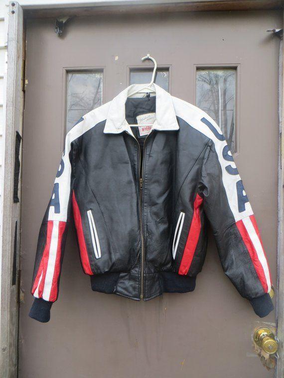 80s Usa Leather Jacket American Flag Coat Bomber Jacket Usa Leather Unisex Jacket Jackets