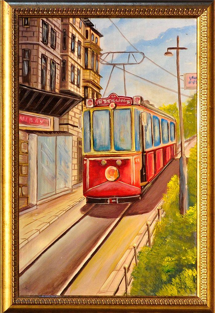 Nostalji Tramvay El Yapimi Yagli Boya Tablo Modeli Ve Fiyati Tablolar El Yapimi Fotograf