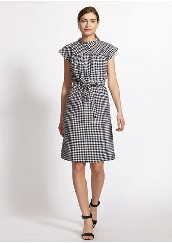 Greta Gingham Dress in Black