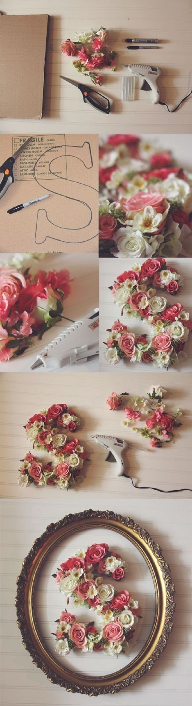 The link was broken. Take dollar store flowers and hot glue them to cardboard letter cutouts. Spring Flowers DIY home project