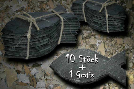 10 table cards made of natural slate for communion or conformation