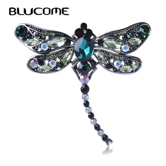 US $5.29 Blucome Groene Libel Broches Corsages Sieraden Shining Crystal Vintage Broche Kristal Grote Broches Sjaal Kleren Hijab Pins Up