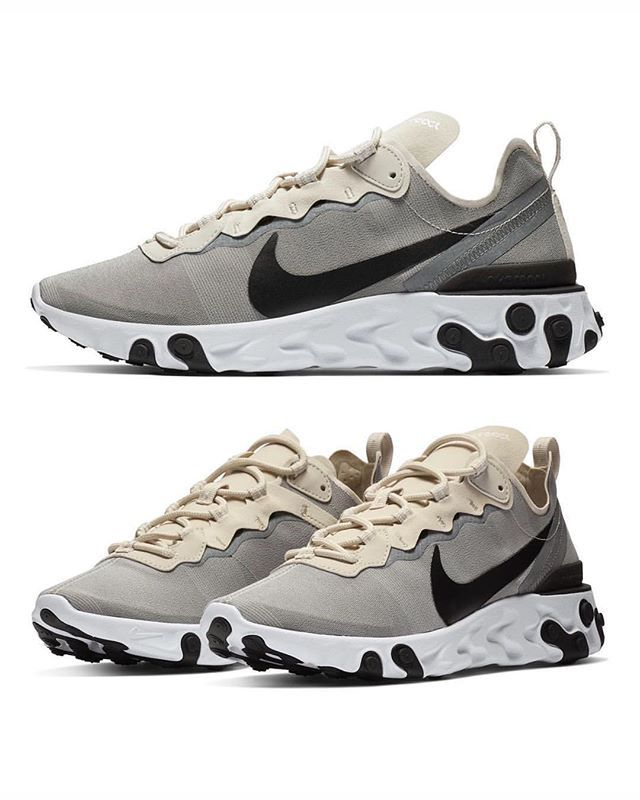 separation shoes d93c2 083a5 The NIKE REACT ELEMENT 55 goes neutral in this latest CREAM and LIGHT GREY  iteration.