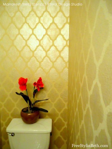 Metallic Gloss Bathroom Wall Finish - Large Marrakesh Trellis Moroccan Wall Stencils by Royal Design Studio