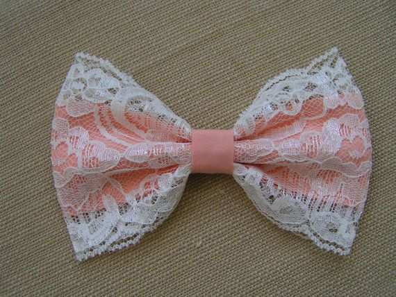 Peach and  lace Hair Bow, kids hair bows, Teens, women, Fabric Bows, hair bow, Bow bows. $6.99, via Etsy.