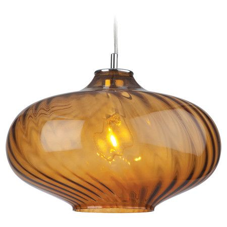 Showcasing An Eye Catching Bulb Shape And An Amber Finish, This Pendant  Light Adds