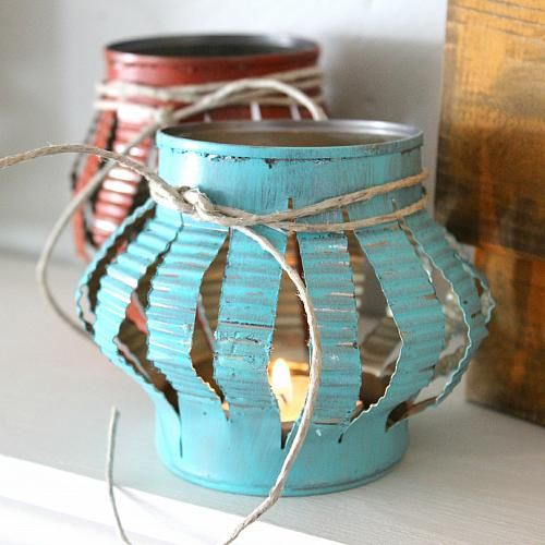 Rustic Tin Can Tea Lights -- Transform tin cans into rustic home décor.  #decoartprojects
