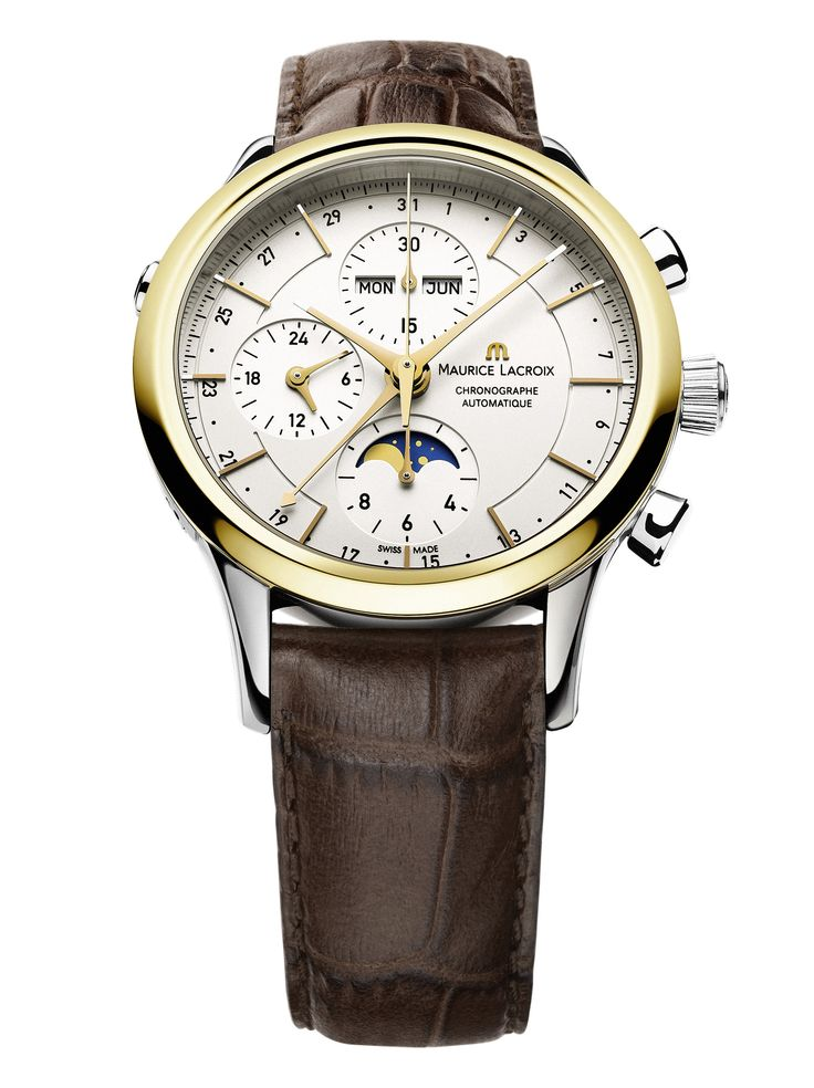 Les Classiques Chronographe Phase de Lune. Featuring automatic movement ML 154, chronograph, moon phases, month, weekday, date, 46h indicator. Case in stainless steel, 18k yellow gold bezel. 41mm. Genuine leather strap. Water resistant to 30m. LC6078-SS001-33E.